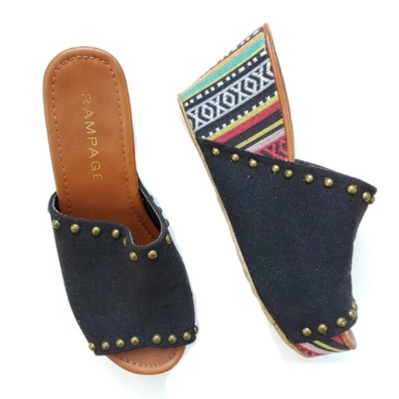 Rampage Shoes - Tribal Print Wedge Sandals